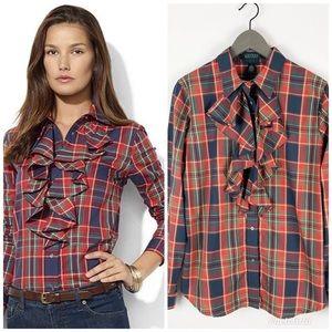 Lauren Ralph Lauren Red Plaid Ruffled Shirt NWT